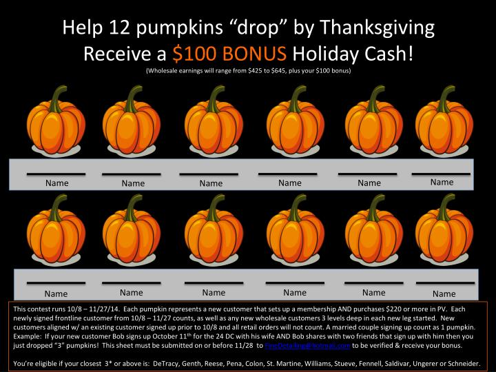 "Help 12 pumpkins ""drop"" by Thanksgiving"