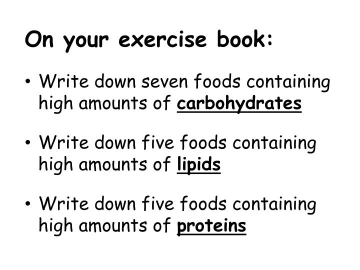 On your exercise book: