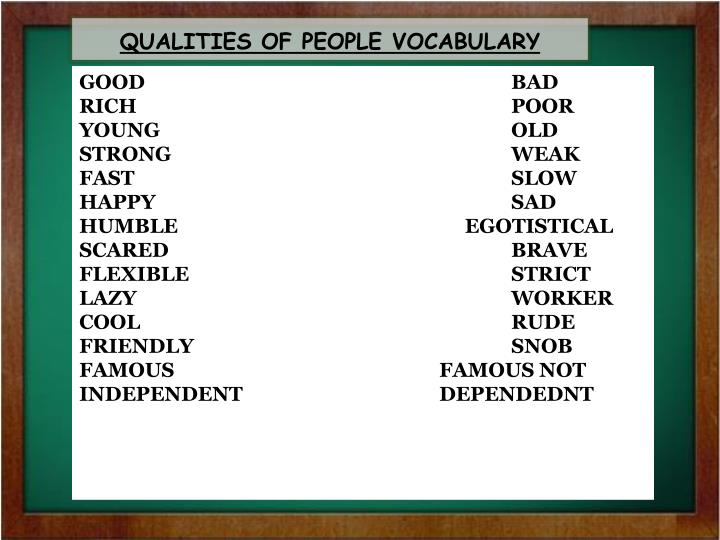 Qualities of people vocabulary