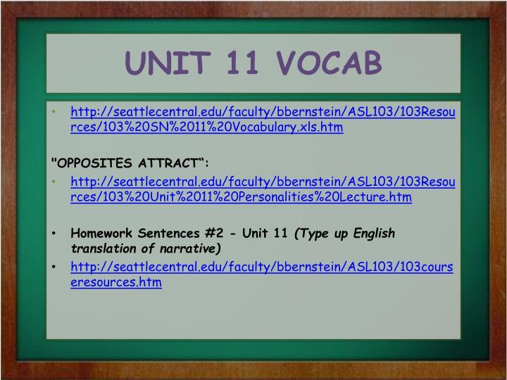 UNIT 11 VOCAB