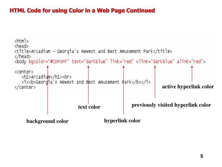 active hyperlink color