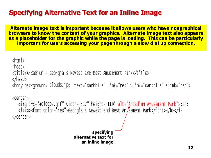 Specifying Alternative Text for an Inline Image
