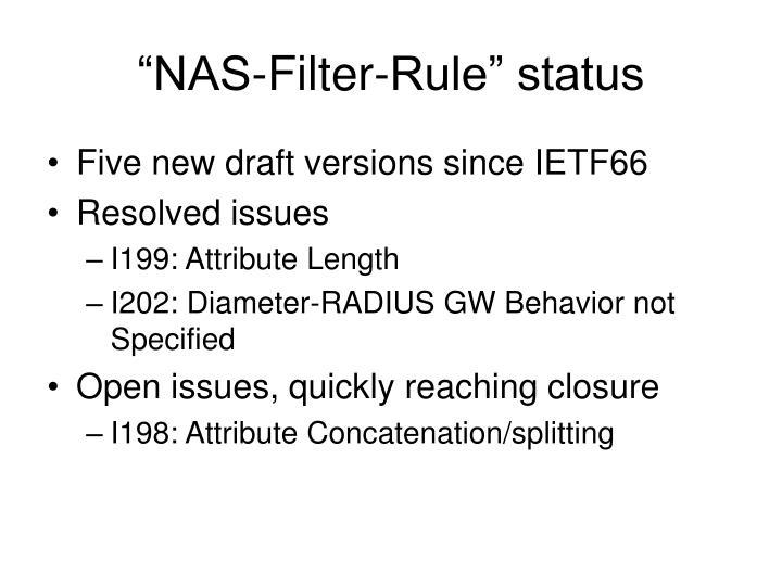 """NAS-Filter-Rule"" status"