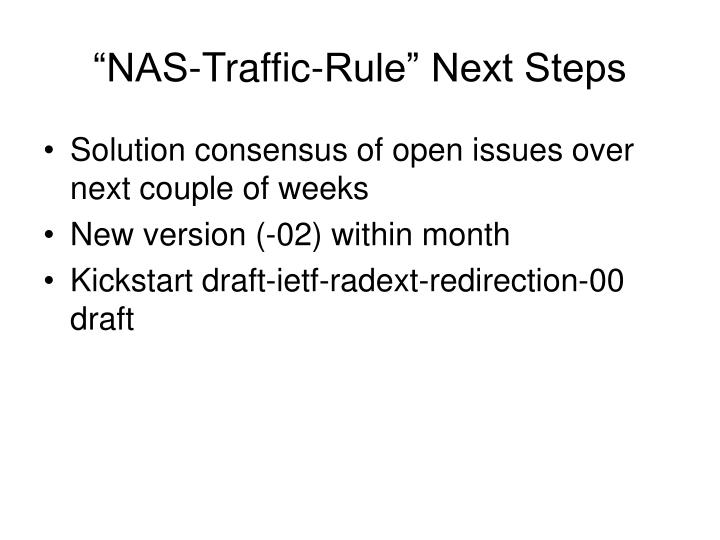 """NAS-Traffic-Rule"" Next Steps"