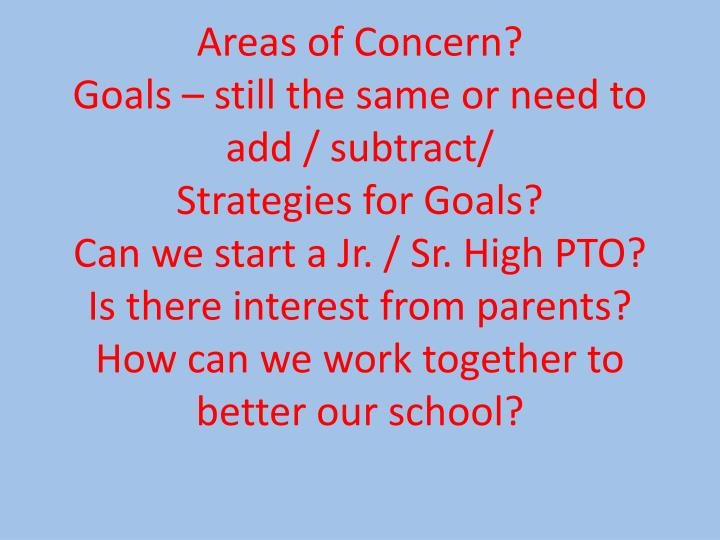 Areas of Concern?
