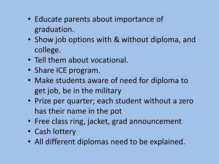 Educate parents about importance of graduation.
