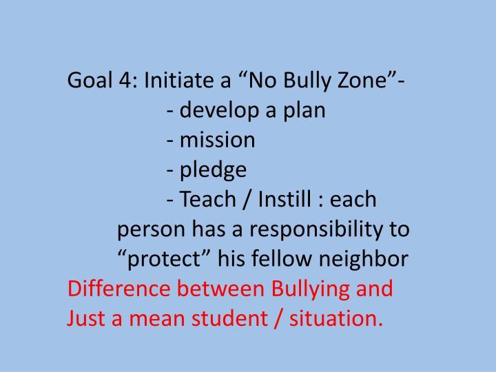 """Goal 4: Initiate a """"No Bully Zone""""-"""