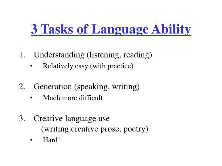 3 Tasks of Language Ability