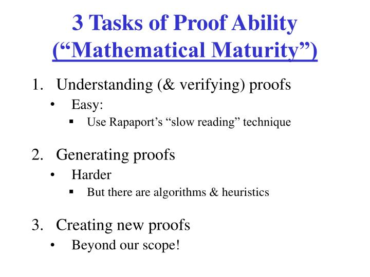 3 Tasks of Proof Ability