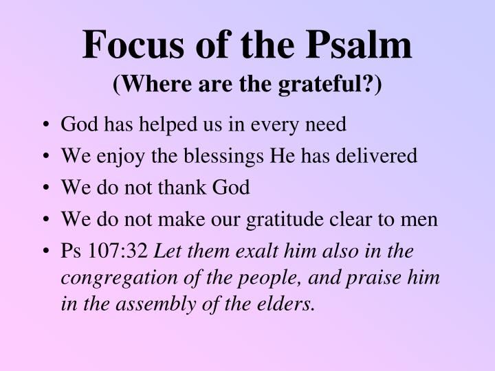Focus of the Psalm