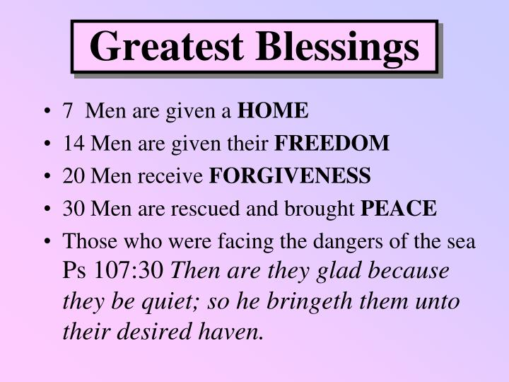 Greatest Blessings