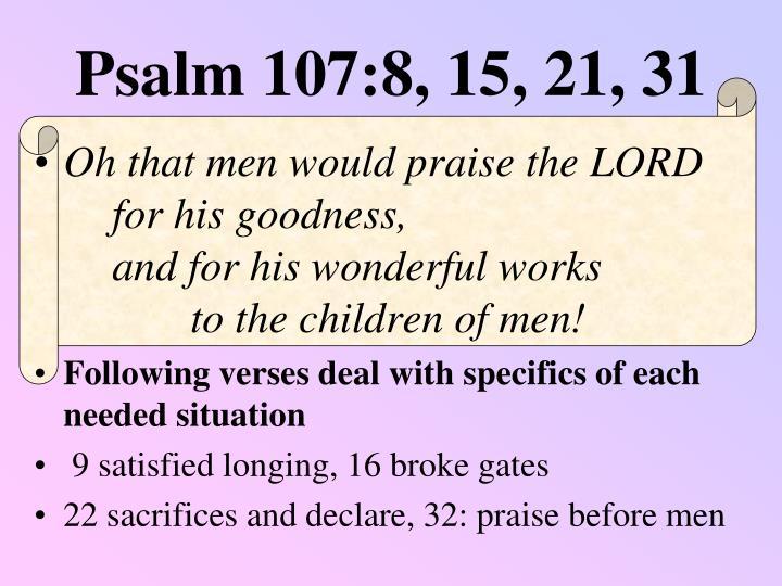 Psalm 107:8, 15, 21, 31