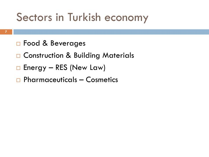 Sectors in Turkish economy