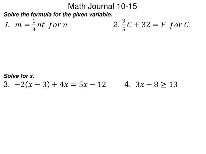 Math Journal 10-15