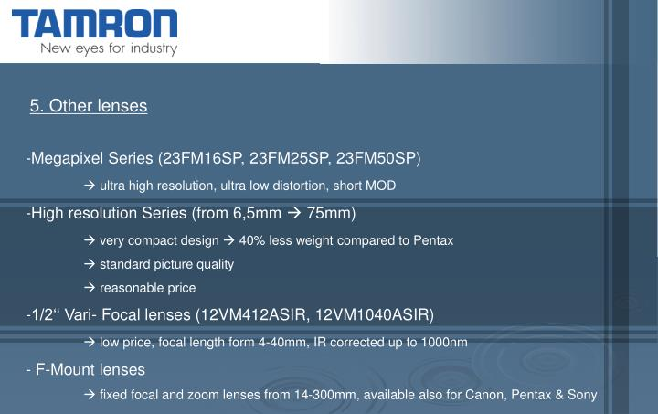 5. Other lenses