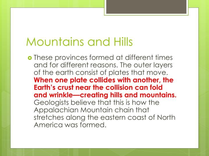Mountains and Hills