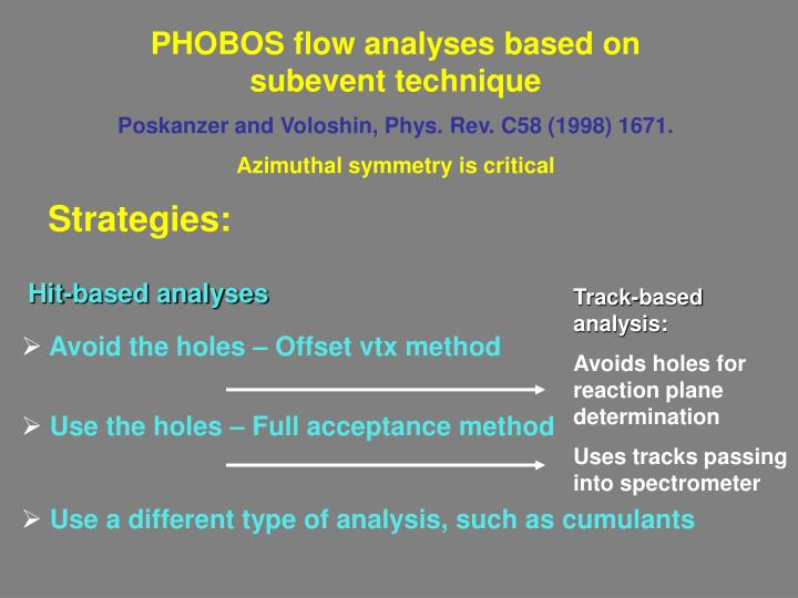 PHOBOS flow analyses based on subevent technique
