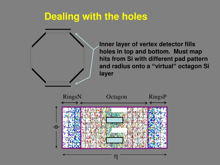 "Inner layer of vertex detector fills holes in top and bottom.  Must map hits from Si with different pad pattern and radius onto a ""virtual"" octagon Si layer"