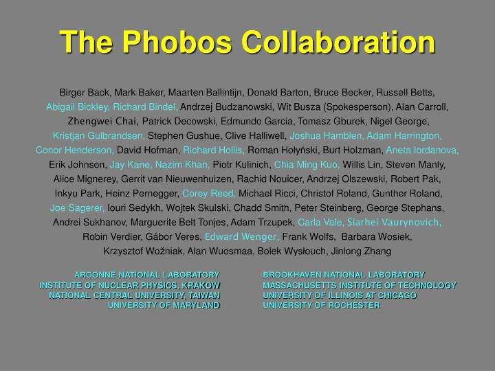 The Phobos Collaboration