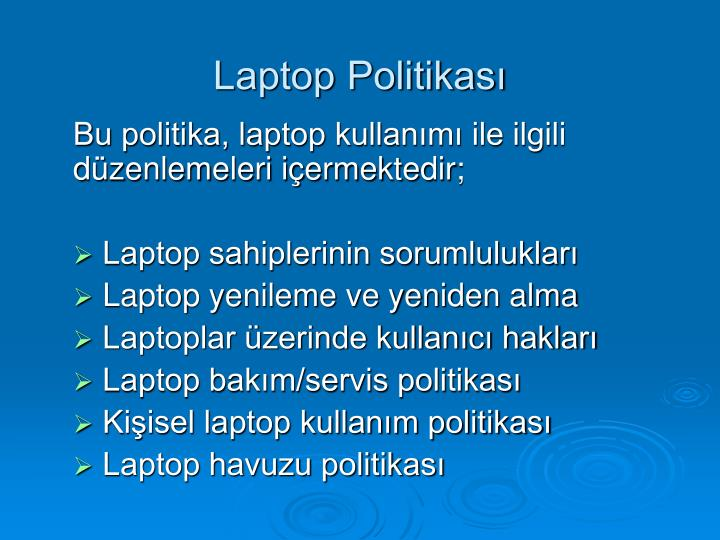 Laptop Politikası