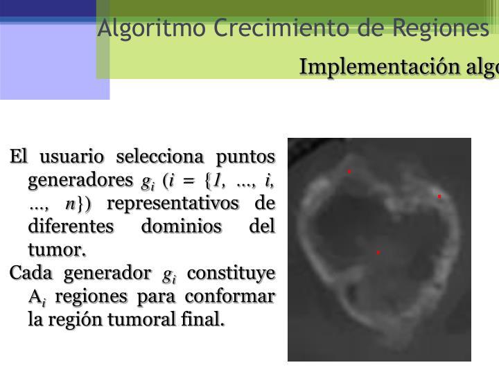 Implementación algoritmo