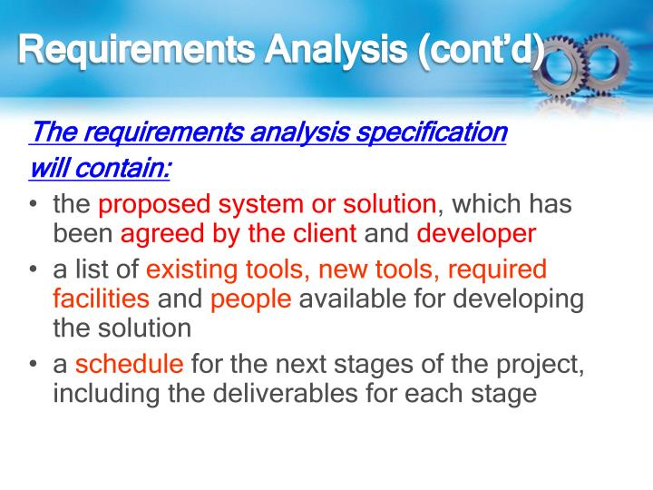 Requirements Analysis (cont'd)