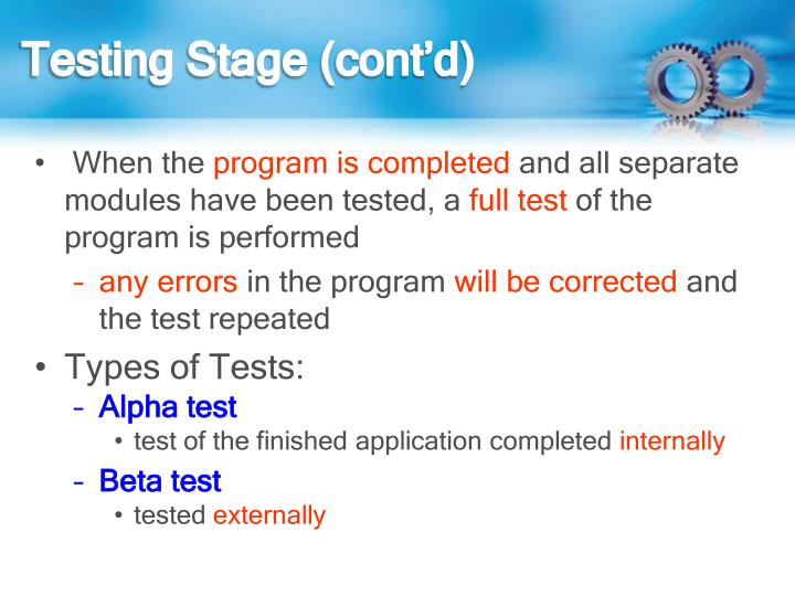 Testing Stage (cont'd)