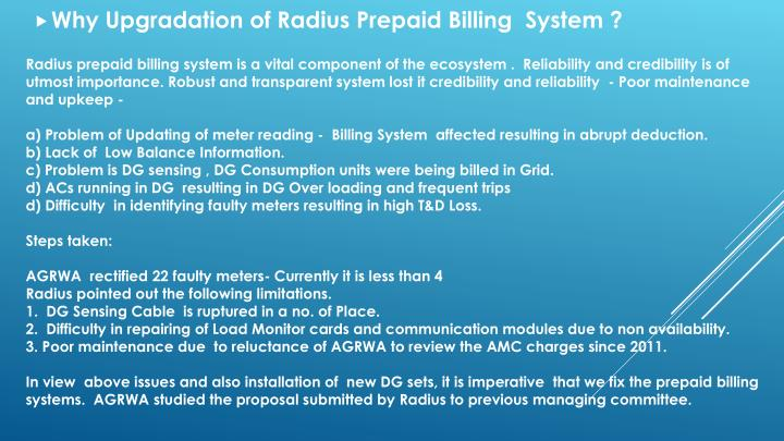 Why Upgradation of Radius Prepaid Billing  System ?