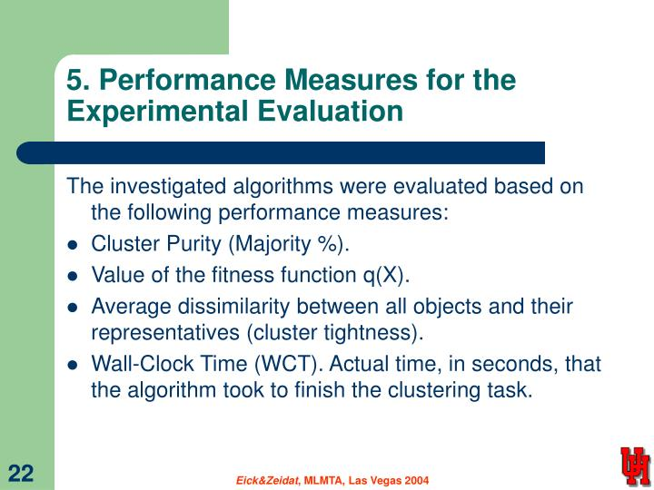 5. Performance Measures for the Experimental Evaluation