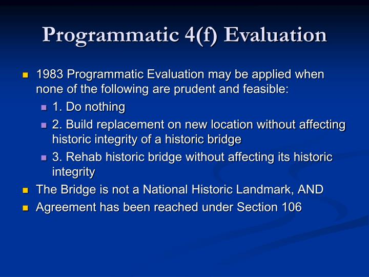 Programmatic 4(f) Evaluation