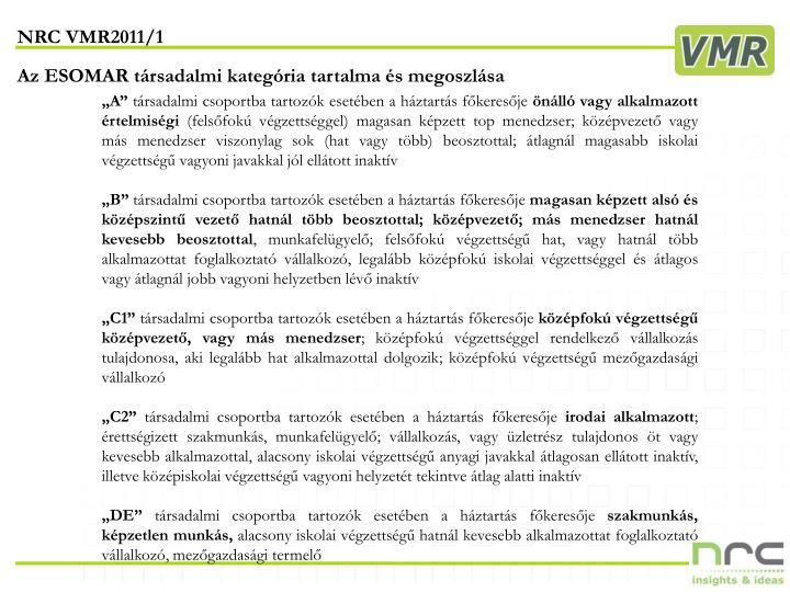 NRC VMR2011/1