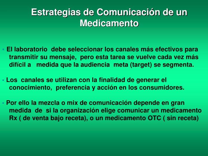 Estrategias de Comunicación de un  Medicamento