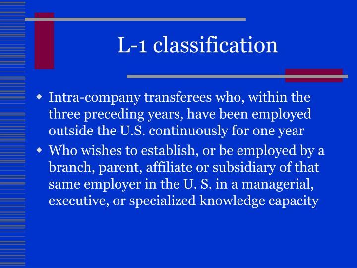 L-1 classification