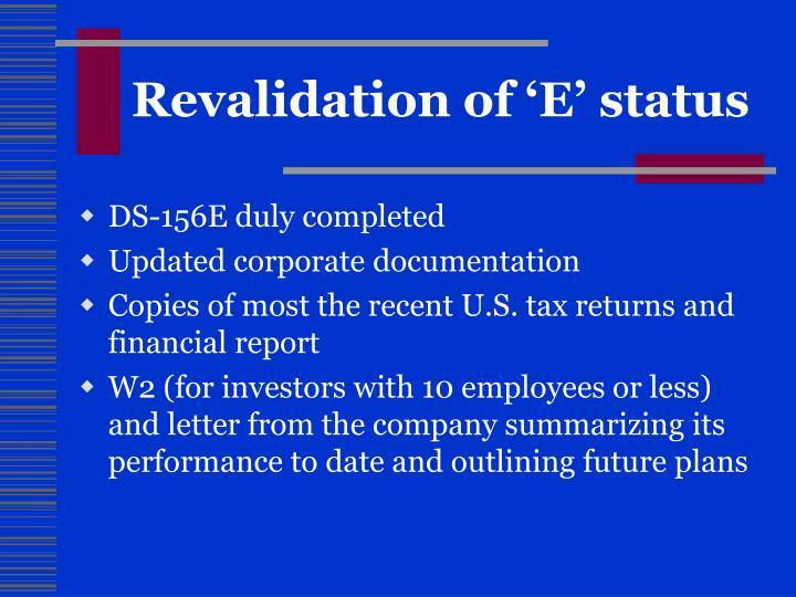 Revalidation of 'E' status