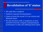 revalidation of e status