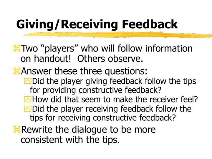 Giving/Receiving Feedback