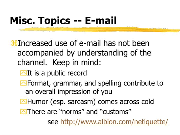 Misc. Topics -- E-mail