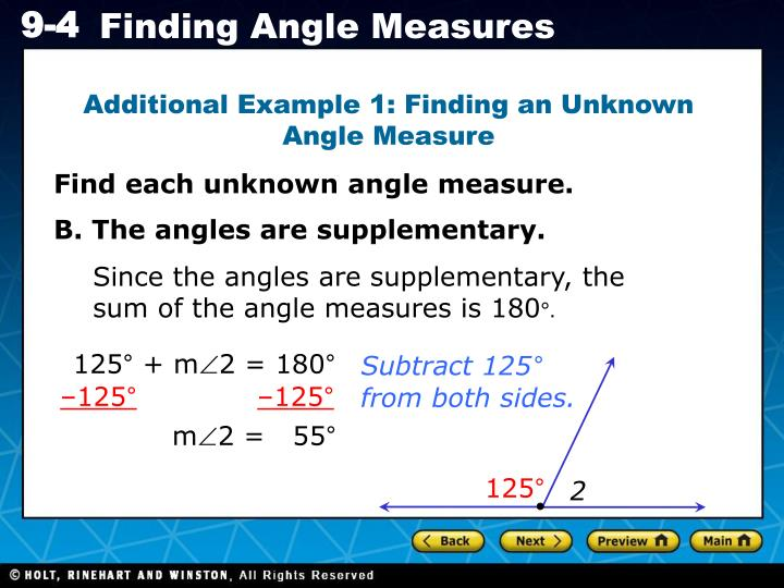 Additional Example 1: Finding an Unknown Angle Measure