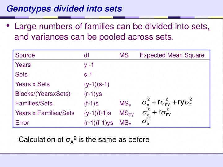 Genotypes divided into sets