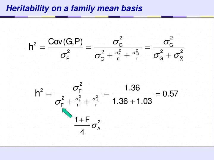 Heritability on a family mean basis