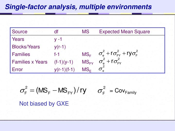 Single-factor analysis, multiple environments