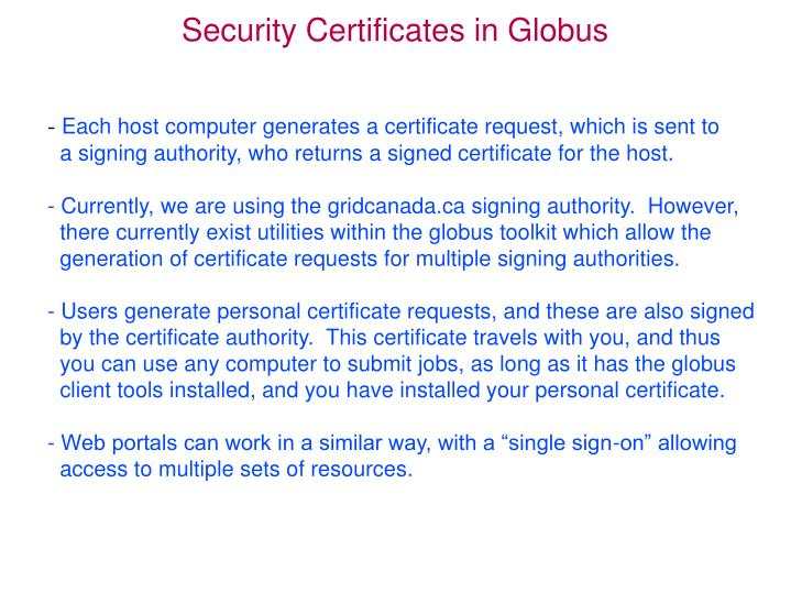 Security certificates in globus