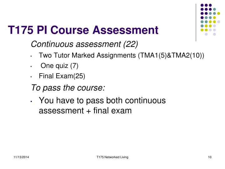 T175 PI Course Assessment