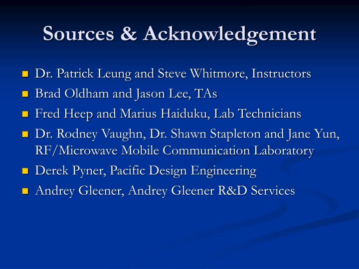 Sources & Acknowledgement