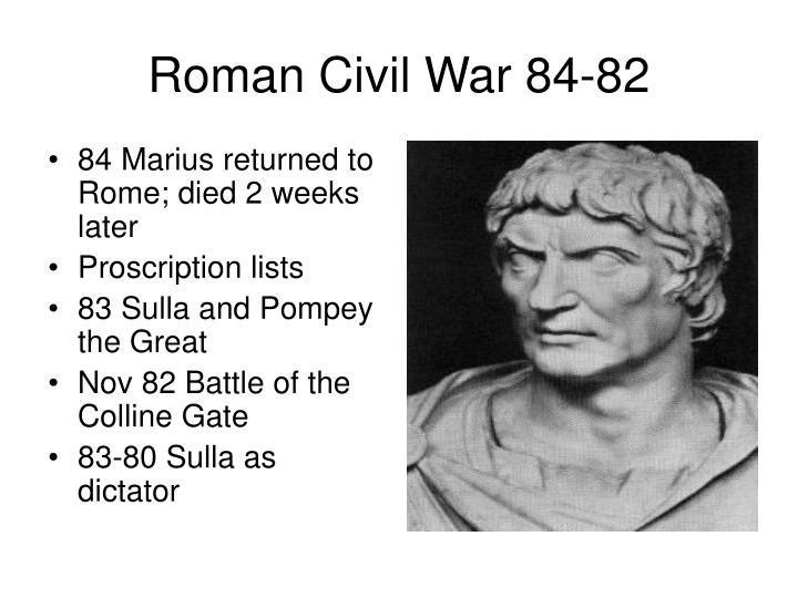 84 Marius returned to Rome; died 2 weeks later