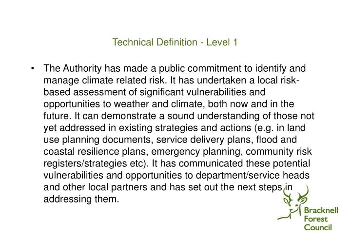 Technical Definition - Level 1