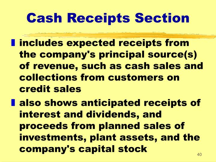 Cash Receipts Section