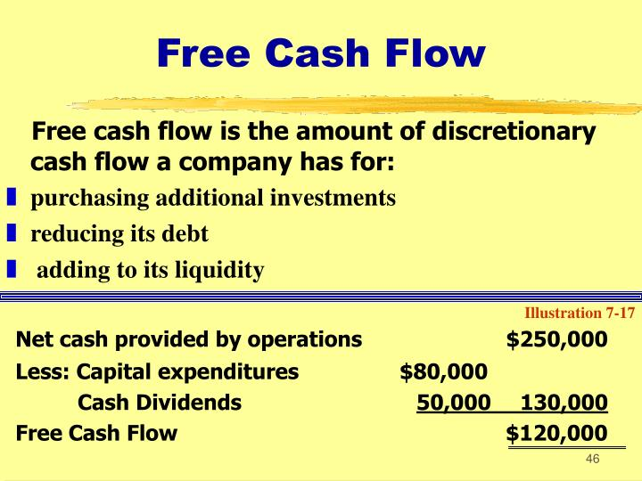 Free cash flow is the amount of discretionary cash flow a company has for: