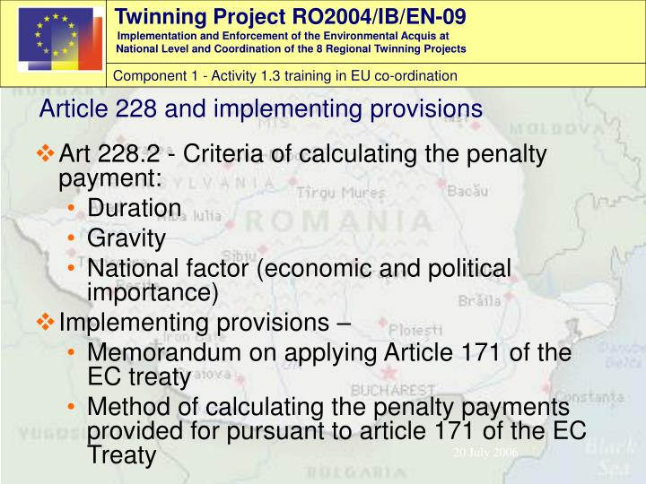 Art 228.2 - Criteria of calculating the penalty payment: