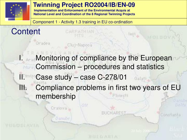 Monitoring of compliance by the European Commission – procedures and statistics